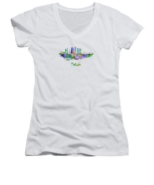 Tokyo V3 Skyline In Watercolor Women's V-Neck T-Shirt (Junior Cut) by Pablo Romero