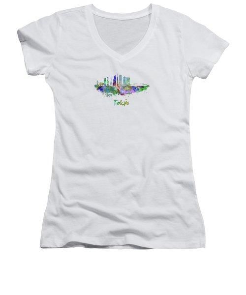 Tokyo V3 Skyline In Watercolor Women's V-Neck T-Shirt (Junior Cut) by Pablo Romero