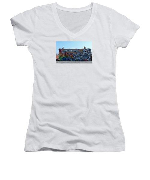 Women's V-Neck T-Shirt (Junior Cut) featuring the photograph Toledo Loves Love by Michiale Schneider