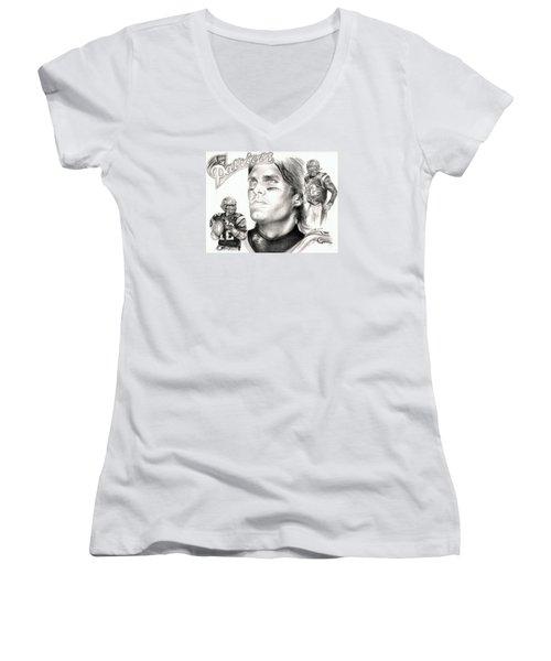 Tom Brady Women's V-Neck T-Shirt (Junior Cut)