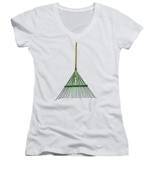 Tools On Wood 10 On Bw Women's V-Neck T-Shirt (Junior Cut) by YoPedro