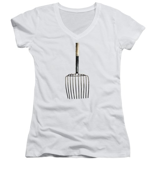 Tools On Wood 25 On Bw Women's V-Neck T-Shirt (Junior Cut) by YoPedro