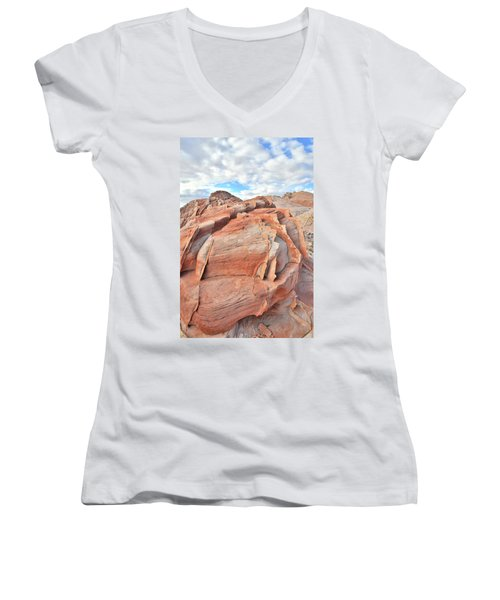 Top Of The World At Valley Of Fire Women's V-Neck T-Shirt (Junior Cut) by Ray Mathis