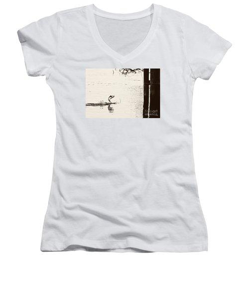 Top Water Explosion Women's V-Neck T-Shirt (Junior Cut) by Scott Pellegrin