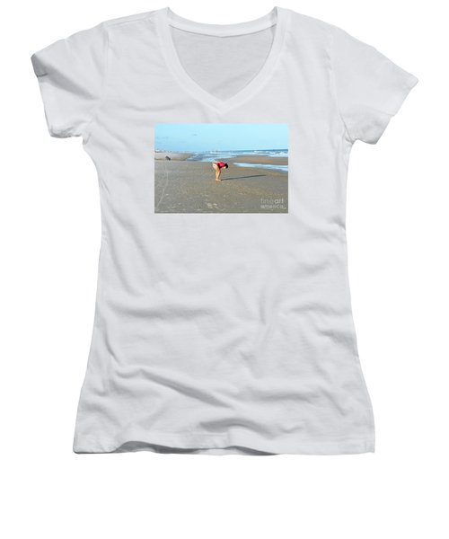Topsail Island Beach Women's V-Neck T-Shirt (Junior Cut)