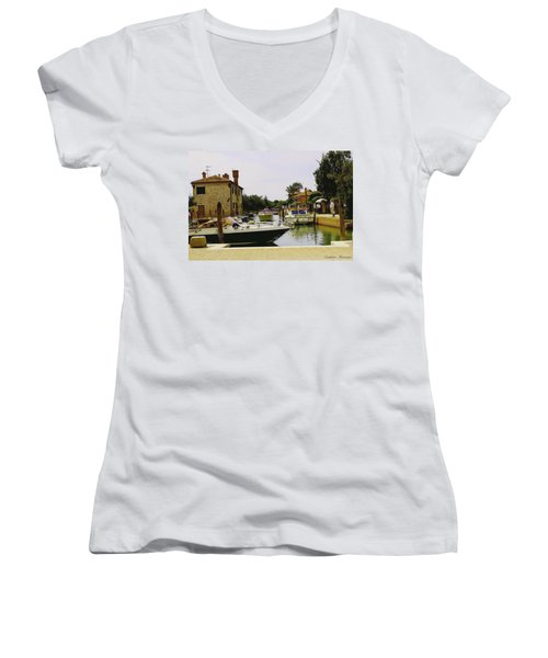 Torcello Island Women's V-Neck T-Shirt (Junior Cut) by Cendrine Marrouat
