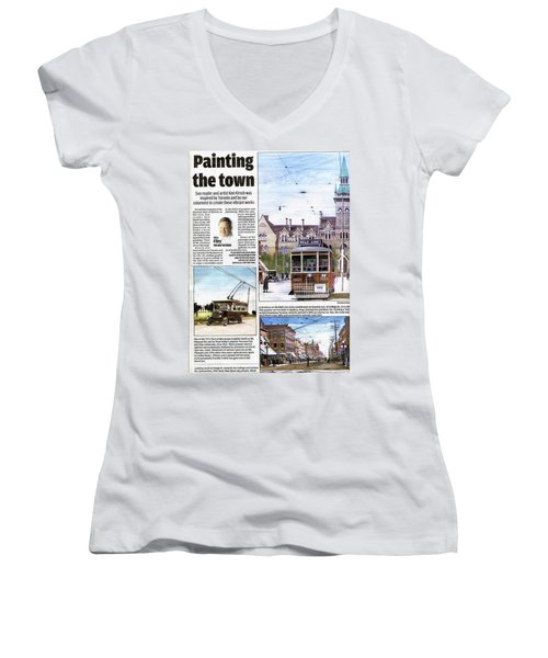 Women's V-Neck T-Shirt (Junior Cut) featuring the painting Toronto Sun Article Painting The Town by Kenneth M Kirsch