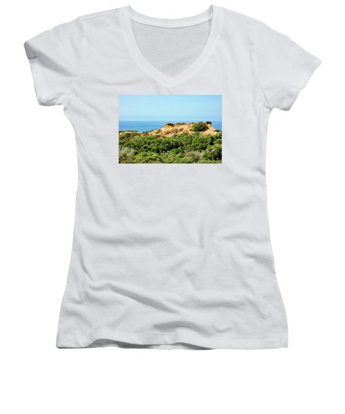 Torrey Pines California - Chaparral On The Coastal Cliffs Women's V-Neck