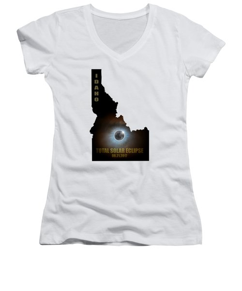 Total Solar Eclipse In Idaho Map Outline Women's V-Neck T-Shirt