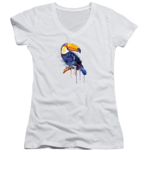 Toucan Women's V-Neck T-Shirt (Junior Cut) by Marian Voicu