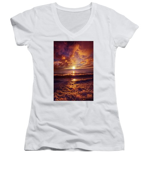 Women's V-Neck T-Shirt (Junior Cut) featuring the photograph Toward The Far Reaches by Phil Koch
