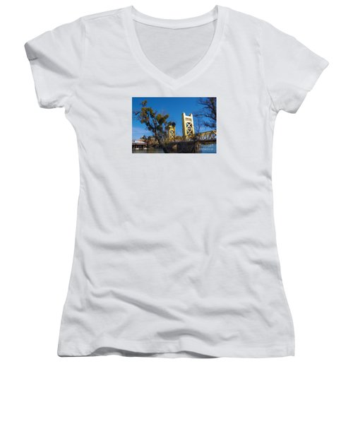 Women's V-Neck T-Shirt (Junior Cut) featuring the photograph Tower Bridge Old Sacramento by Debra Thompson