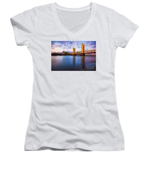 Tower Bridge Sacramento 3 Women's V-Neck