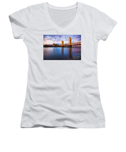 Tower Bridge Sacramento 3 Women's V-Neck (Athletic Fit)