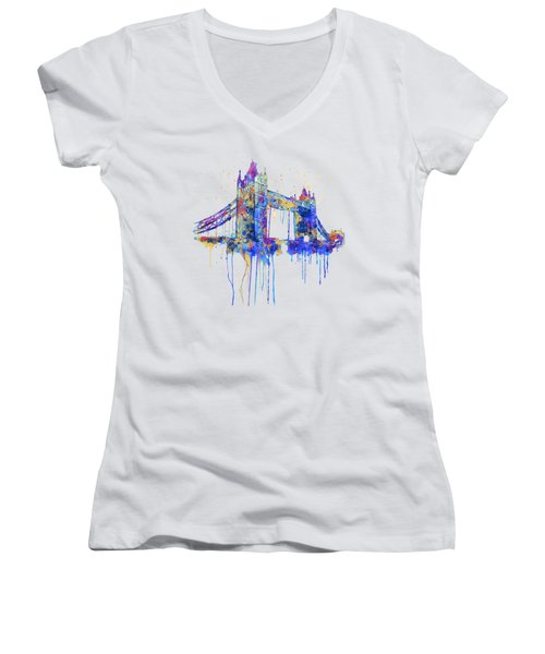 Tower Bridge Watercolor Women's V-Neck T-Shirt (Junior Cut) by Marian Voicu