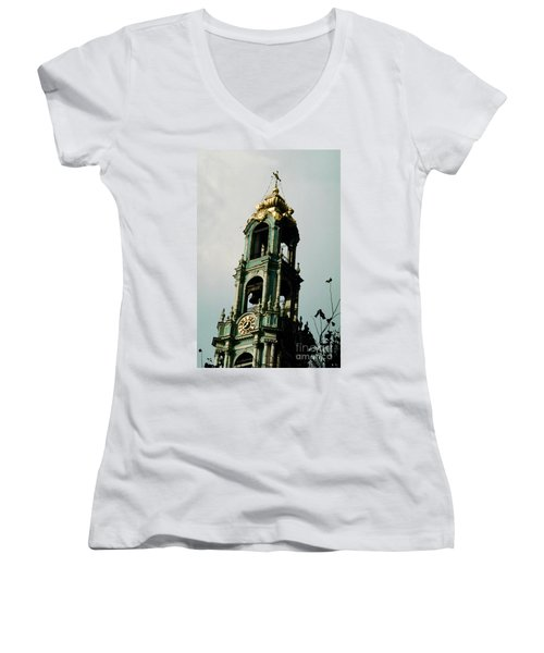 Tower Trinity Lavra Of St. Sergius Sergiev Posad Zagorsk Women's V-Neck T-Shirt (Junior Cut) by Wernher Krutein
