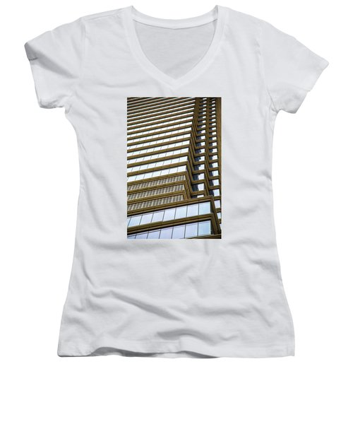 Women's V-Neck T-Shirt (Junior Cut) featuring the photograph Towering Windows by Karol Livote