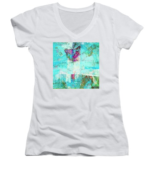Women's V-Neck T-Shirt (Junior Cut) featuring the painting Towers by Dominic Piperata