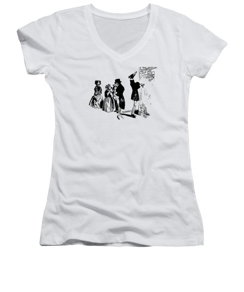 Women's V-Neck featuring the digital art Town Square Grandville Transparent Background by Barbara St Jean