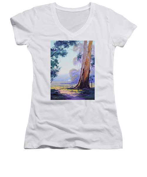 Track To The Farm Women's V-Neck (Athletic Fit)