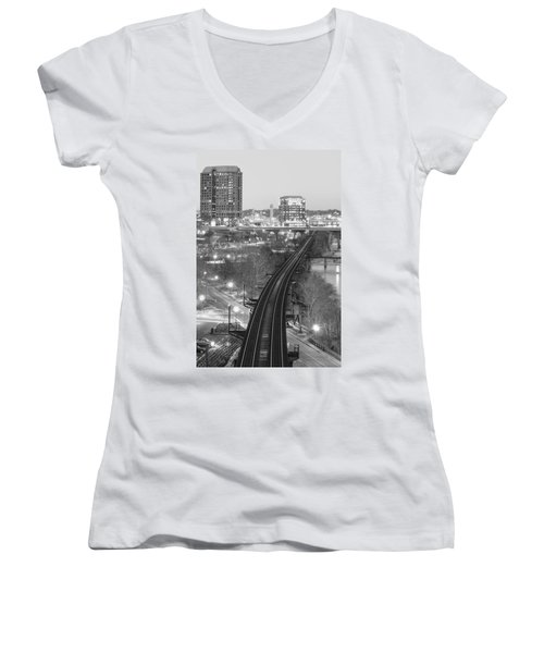 Tracks Into The City Women's V-Neck (Athletic Fit)