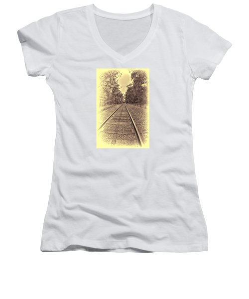 Women's V-Neck T-Shirt (Junior Cut) featuring the digital art Tracks Through The Park by Dennis Lundell