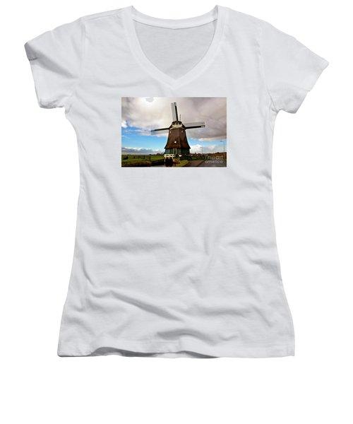 Traditional Dutch Windmill Near Volendam  Women's V-Neck (Athletic Fit)
