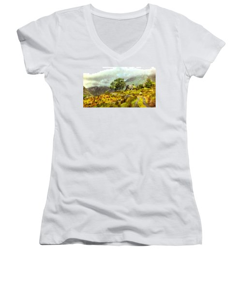 Traditional Ireland Women's V-Neck T-Shirt (Junior Cut) by Mario Carini
