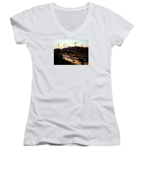 Traffic And Cranes Women's V-Neck