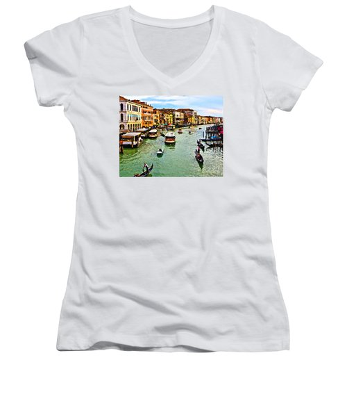 Women's V-Neck T-Shirt (Junior Cut) featuring the photograph Traghetto, Vaporetto, Gondola  by Tom Cameron