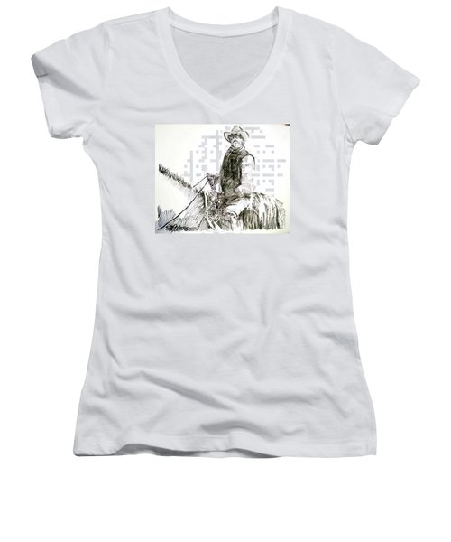 Women's V-Neck T-Shirt (Junior Cut) featuring the drawing Trail Boss by Seth Weaver