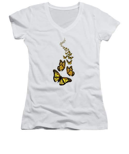 Women's V-Neck featuring the digital art Trail Of The Yellow Butterflies Transparent Background by Barbara St Jean