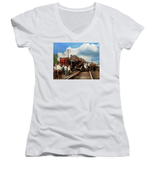 Women's V-Neck T-Shirt (Junior Cut) featuring the photograph Train - Accident - Butting Heads 1922 by Mike Savad