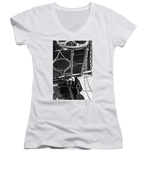 Women's V-Neck T-Shirt featuring the photograph Train Car Connections by Colleen Coccia