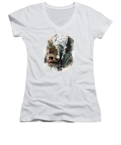 Train Days Women's V-Neck T-Shirt (Junior Cut) by Florentina Maria Popescu