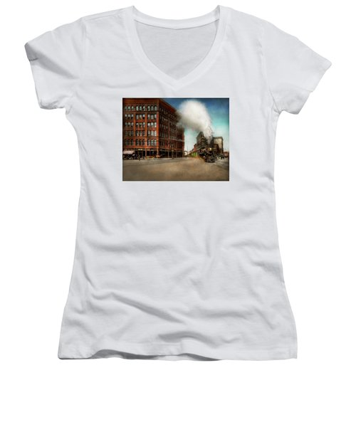 Women's V-Neck T-Shirt (Junior Cut) featuring the photograph Train - Respect The Train 1905 by Mike Savad