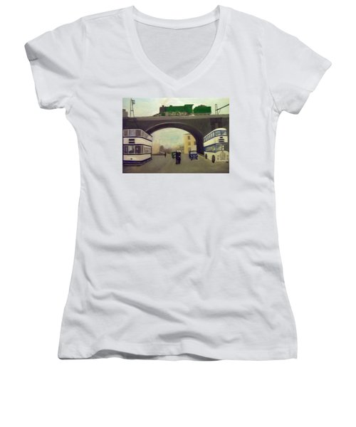 1950s Tram, Locomotive, Bus And Cars In Sheffield  Women's V-Neck T-Shirt