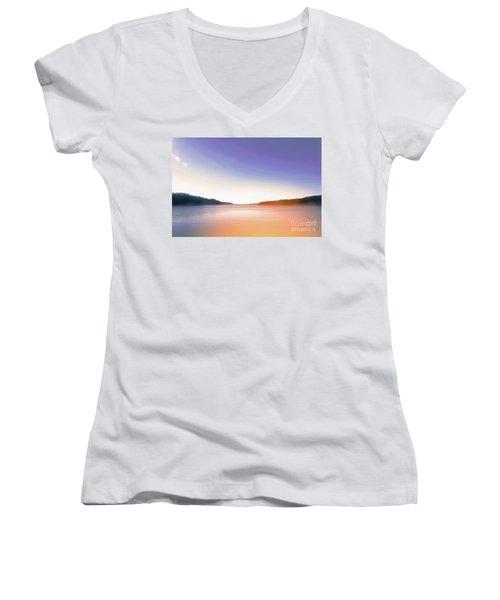 Tranquil Afternoon At The Lake Women's V-Neck (Athletic Fit)