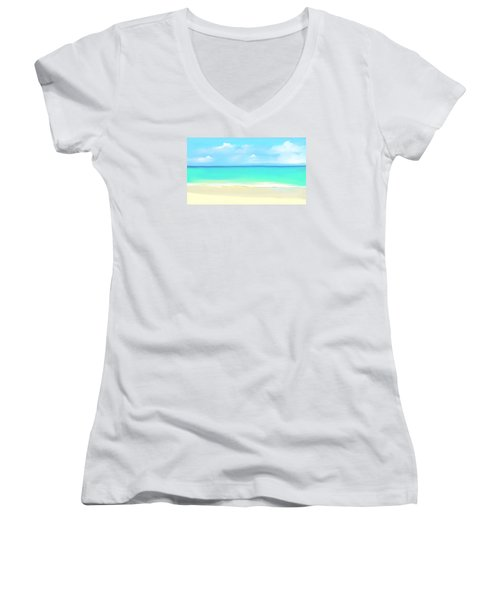 Women's V-Neck T-Shirt (Junior Cut) featuring the digital art Tranquil Beach by Anthony Fishburne