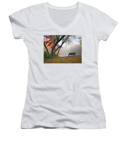 Tranquil View Women's V-Neck T-Shirt (Junior Cut) by Betsy Zimmerli