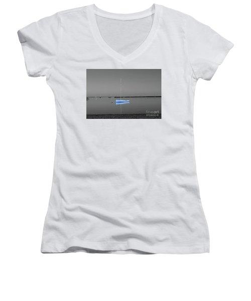 Tranquil Waters Women's V-Neck T-Shirt (Junior Cut) by Sebastian Mathews Szewczyk