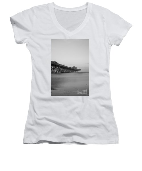 Tranquility At Folly Grayscale Women's V-Neck T-Shirt (Junior Cut) by Jennifer White