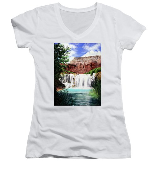 Tranquility In The Canyon Women's V-Neck T-Shirt