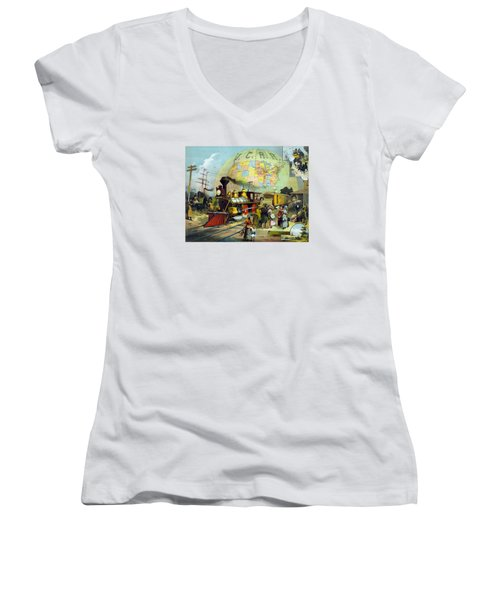 Transcontinental Railroad Women's V-Neck T-Shirt (Junior Cut) by War Is Hell Store
