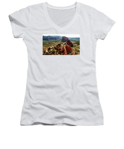 Transept Mountains 04-089 Women's V-Neck T-Shirt (Junior Cut) by Scott McAllister