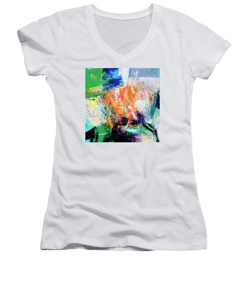 Women's V-Neck T-Shirt (Junior Cut) featuring the painting Transformer by Dominic Piperata