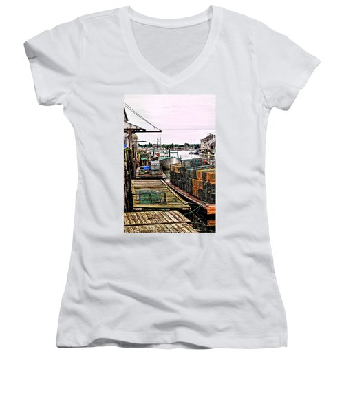 Traps Portland Maine Women's V-Neck T-Shirt (Junior Cut) by Tom Prendergast