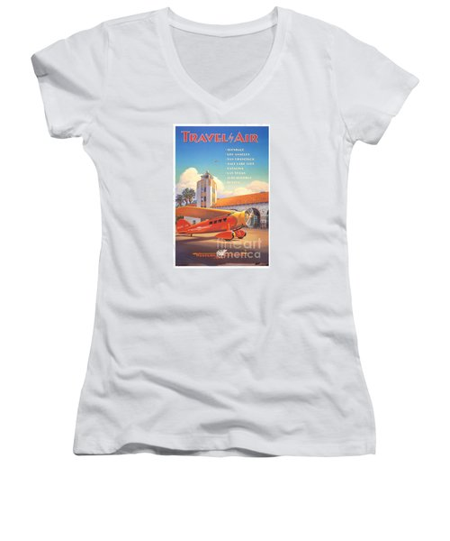 Travel By Air Women's V-Neck T-Shirt (Junior Cut) by Nostalgic Prints