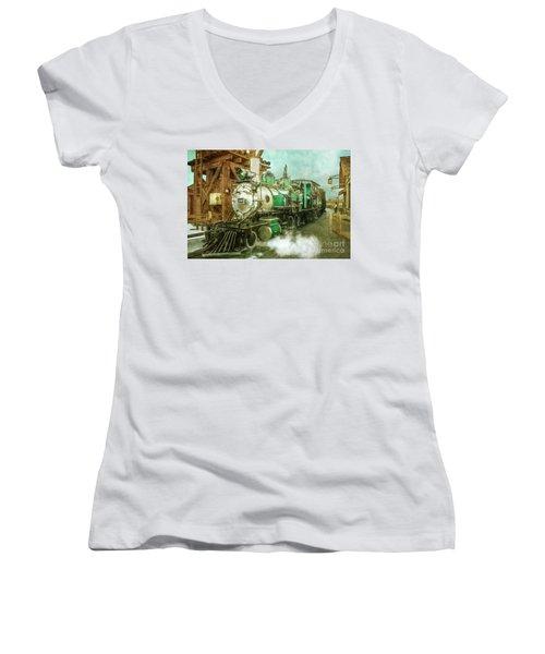 Traveling By Train Women's V-Neck T-Shirt (Junior Cut) by Claudia Ellis