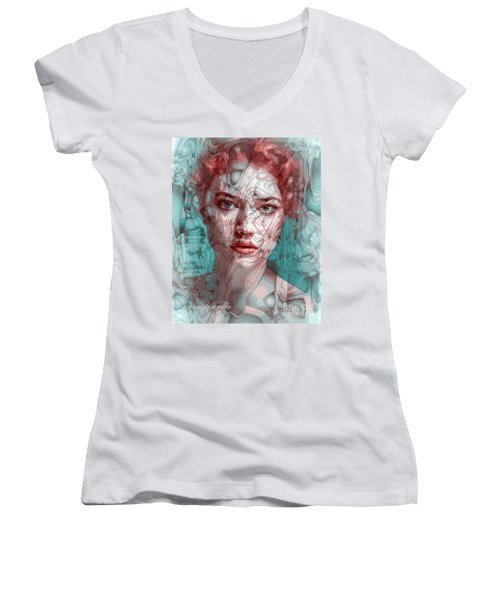 Travelling Wave Women's V-Neck T-Shirt (Junior Cut) by Moustafa Al Hatter
